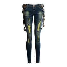 Narin Embellished Distressed Skinny Jeans With Braces | Shelikes ($40) ❤ liked on Polyvore featuring jeans, pants, bottoms, calças, torn skinny jeans, destroyed denim skinny jeans, blue jeans, skinny jeans and torn jeans