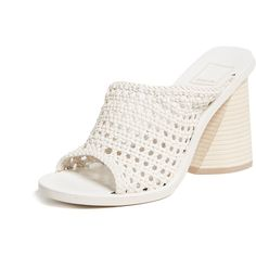Dolce Vita Anton Woven Block Heel Sandals ($200) ❤ liked on Polyvore featuring shoes, sandals, ivory, dolce vita sandals, slide heel sandals, open toe heel sandals, vegan shoes and ivory sandals