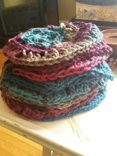 My stack of granny squares I've been working on slowly for a blanket.