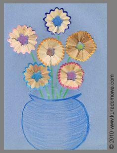 Mother's Day; How to use color pencils in a different way to make flower's picture / Dzień Matki; Kwiecista laurka wykonana ze obierek od kredek ołówkowych... :-)