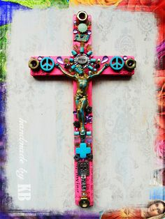 Day of the Dead Inspired Crucifix - Mixed Media Original Spiritual Art by KB (ktotheb.com)