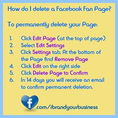 Short but sweet on how to delete your facebook page.