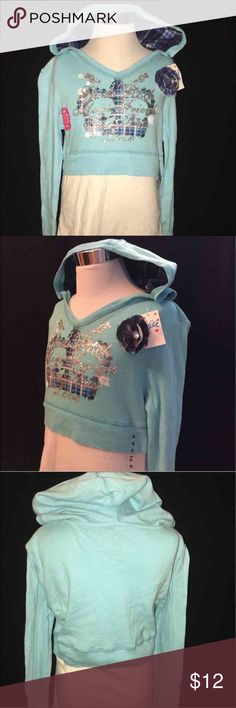 JUSTICE sz 12 hoodie Henley top NWT❣️ Justice  New Sz 12 graphic henley  Long sleeve blouse hoodie top Fits long Justice Shirts & Tops Sweatshirts & Hoodies