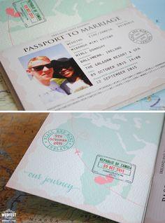 passport travel theme wedding stationery http://www.wedfest.co/passport-wedding-invitations/