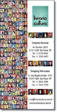 Marcador de livro - Livraria Cultura de São PauloCélebres escritores nacionais e internacionaisIn-anos 1990
