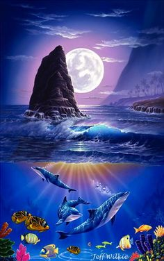 Seascapes Art - items 18 to 118 Sea Life Art, Sea Art, Ocean Life, Dolphin Art, Underwater Painting, Hawaiian Art, Beautiful Fantasy Art, Fantasy Landscape, Surreal Art
