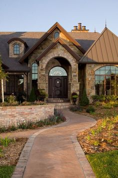 View Brick Ranch Home Exteriors | English Tudor House Plan Front Photo 01 - 101S-0024 | House Plans and ...