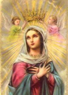 The Rosary Novena to Our Lady Divine Mother, Blessed Mother Mary, Blessed Virgin Mary, Queen Mother, Religious Pictures, Religious Icons, Religious Art, Salve Regina Oracion, Catholic Art