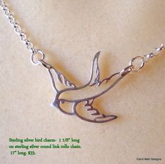 Sterling Silver Bird Charm necklace by Carol Wall on by CarolWall, $33.00