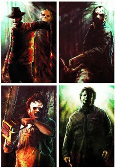 Freddy Kruger, Jason Vorhees, Leatherface and Michael Myers...The Four Horsemen Of Terror // artwork by David Murdoch