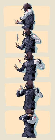 Bucky Barnes in Winter Soldier. This fight scene was badass. Sebastian Stan, Marvel Memes, Marvel Dc Comics, Marvel Avengers, Logo Super Heros, Daimon Salvatore, Captain America And Bucky, Marvel Fan Art, Bucky And Steve