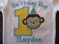Mod Monkey First Birthday Onesie by Bethysboutique, this is the central theme/colors for Daniel's first birthday party