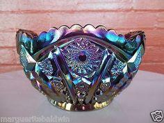 "Indiana Glass Amethyst Carnival Heirloom Paneled Daisy 8 1/2"" Center Bowl   | eBay"