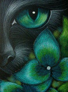 Art: BLACK CAT BEHIND THE HYDRANGEA FLOWERS 3 by Artist Cyra R. Cancel