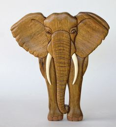 Elephant Intarsia Wall Hanging Wooden Animal by EntwoodCrafts