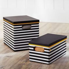 Black/White Stripe Printed Storage Bins | PBteen $20 for small bin and $30 for large bin