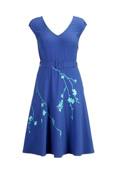 eShakti Women's Floral spray embroidered knit dress at Amazon Women's Clothing store