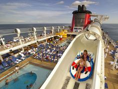 The AquaDuck on Disney Dream and Disney Fantasy cruise ships is four decks high.