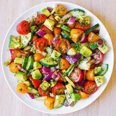 Tomato Cucumber Avocado Salad with Basil Pesto - Healthy, Mediterranean recipe with lots of fresh vegetables. This recipe uses just a few ingredients, it's easy to make, and the salad looks beautiful on the Salade Healthy, Healthy Salad Recipes, Vegetable Recipes, Vegetarian Recipes, Cooking Recipes, Cucumber Avocado Salad, Pesto Salad, Avocado Salat, Clean Eating