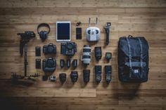 photography, gear, equipment, camera, lens, flash, backpack, headphones, technology, gopro, tripod, hardwood, objects
