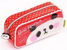 cute red and white panda plastic pencil case from Japan 2