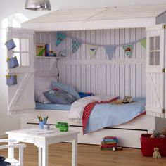 Create a fantastic children room and add a spark of pleasure with a home bed. In the outside, like a kid's home with folding doors and within a comfy bed. House Beds For Kids, Kid Beds, Fun House, Boys Room Decor, Boy Room, Child's Room, Hideaway Bed, Childrens Beds, Cool Beds