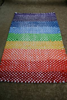 Hand Woven Recycled T-Shirt Rag Rug, Rainbow Fun by The Someday House eclectic kids rugs