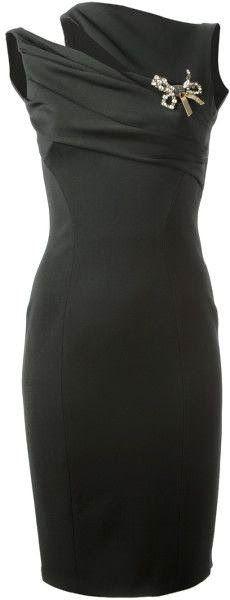 Lovely Asymmetric Shoulder Black Dress!