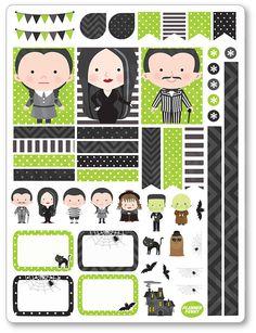Decoración familia Spooky Kit / extensión semanal planificador pegatinas para el…