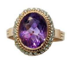 VICTORIAN 14K GOLD PEARL & AMETHYST RING