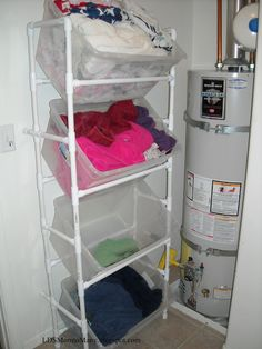 This would be a great lightweight storage solution for laundry and supplies. LDS Mom to Many: Vertical PVC Laundry Sorter