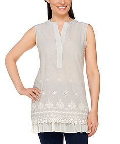 Look what I found on #zulily! Frosted Sage Stripe Embroidered Sleeveless Tunic - Plus Too #zulilyfinds