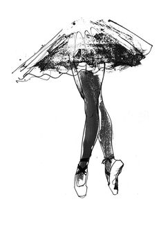 ballet, 1 of 13 black and white drawings from a book called frozen beauty -  selfridges, london.