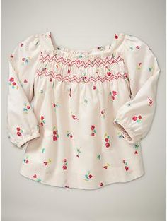 floral smocked toppumice-color  0-24 months