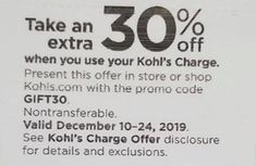 Kohls 30 OFF Coupon Code December 2019. Take Extra 30% OFF Coupons when use Kohls Charge + Free Shipping Use GIFT30 Coupon Code when Checkout and DECMVCFREE for Free Shipping #kohls #kohls30 #kohls30offcouponcode #kohlsinstorecoupons #kohls30offdecember #kohlsfreeshipping Store Coupons, Printable Coupons, Simply Vera, Kohls, Coupon Codes, 30th, December, How To Apply, Coding