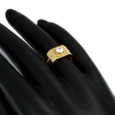 Wholesale Classic Gold Plated Geometric White Cubic Zirconia Ring for Men Only Gold Plated Rings, Gold Rings, Cubic Zirconia Rings, Types Of Metal, Wedding Jewelry, Wedding Bands, Rings For Men, Body Measurements, Classic