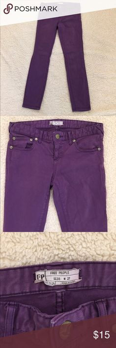 Anthropologie Free People Skinny Jeans Size 27 Anthropologie Free People Purple Jeans Size 27. GUC with a slight discoloration on back of right leg. Free People Jeans Skinny