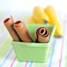 peanut butter banana fruit roll    vegan, gluten free, delicious    2 bananas, peeled and sliced  2 tablespoons peanut butter    Blend at high speed until smooth – less than one minute. Spread onto dehydrator sheet; dehydrate at 125-135 for 4-5 hours.