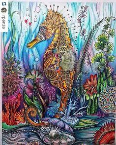 "Inspirational Coloring Pages by @rpenze #desenhoscolorir Meu Cavalo Marinho #lostocean…"""