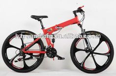 "24 Speed Men's Mountain Bike Black Red Aluminum Frame Bicycle 26"" Full Suspension #bicycles, #black"