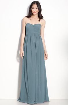 Jenny Yoo strapless chiffon bridesmaid gown