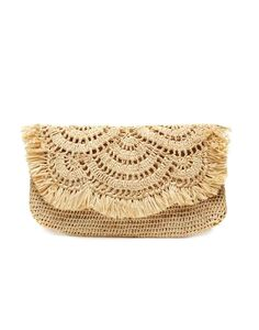 Fair Trade Handwoven Tan Tropical Clutch