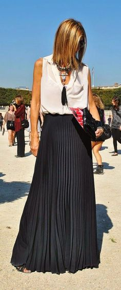 Black Pleated Maxi Skirt with White Sleeveless Top...