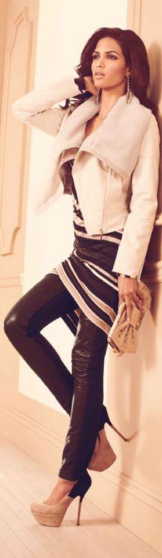 Cris Urena for BeBe Fall 2012 love outfit Look Fashion, High Fashion, Womens Fashion, Fashion Trends, Modern Fashion, Fashion Models, My Bebe, Winter Stil, Vogue