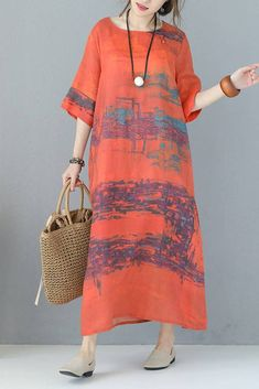 Women Summer Vintage Loose Printed Long Dress Q9511