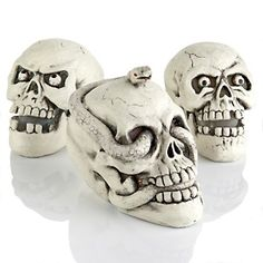Halloween Set of 3 Skull Decorations