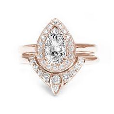 Rose Gold Pear Diamond Engagement Ring with matching diamond wedding band