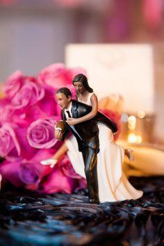 Custom Cake Topper  Photography: Callaway Gable Read More: http://www.insideweddings.com/weddings/amena-jefferson-and-brandon-mebane/520/