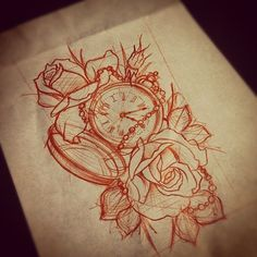 clock with roses tattoo - Google Search