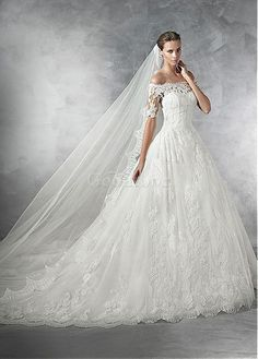 Robe de mariée naturel décoration dentelle en tulle sexy avec manches - photo 1